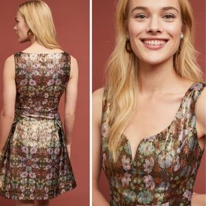 Anthropologie floral Erina metallic brocade dress